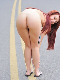 Amber naked on the street