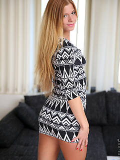 Lusty Czech Chrissy Fox can't keep her hands off of her medium boobs and rock hard nipples, nor is she shy about lifting her miniskirt to show of